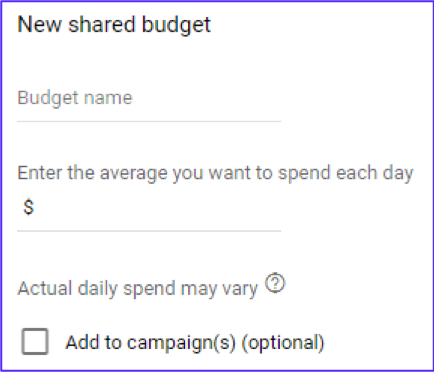 Google Ads New Shared Budget