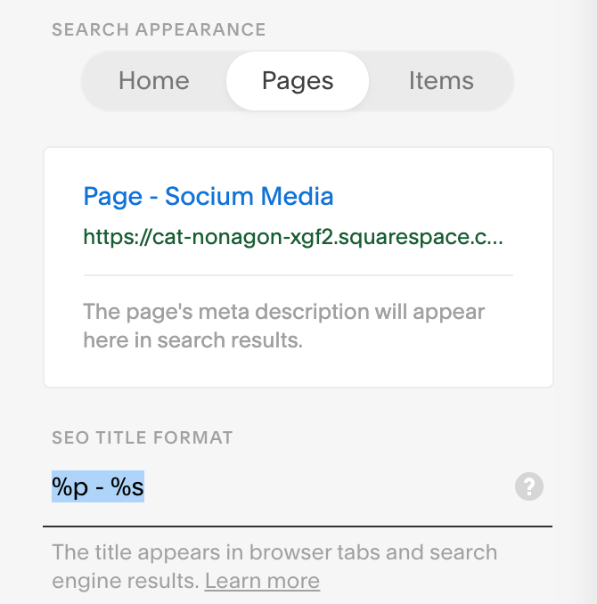 Squarespace SEO Page Settings