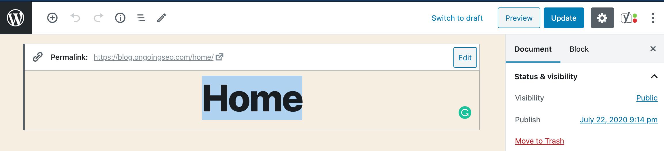 H1 Tag on WordPress