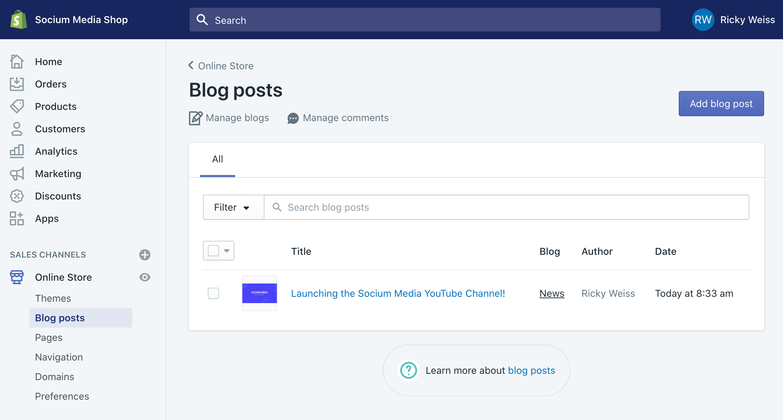 Shopify Blog Post SEO