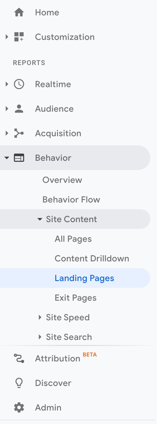 Landing Pages in GA