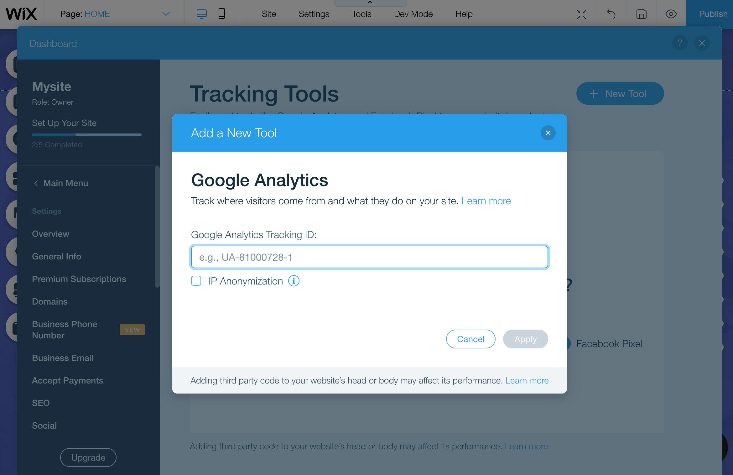 Google Analytics Wix