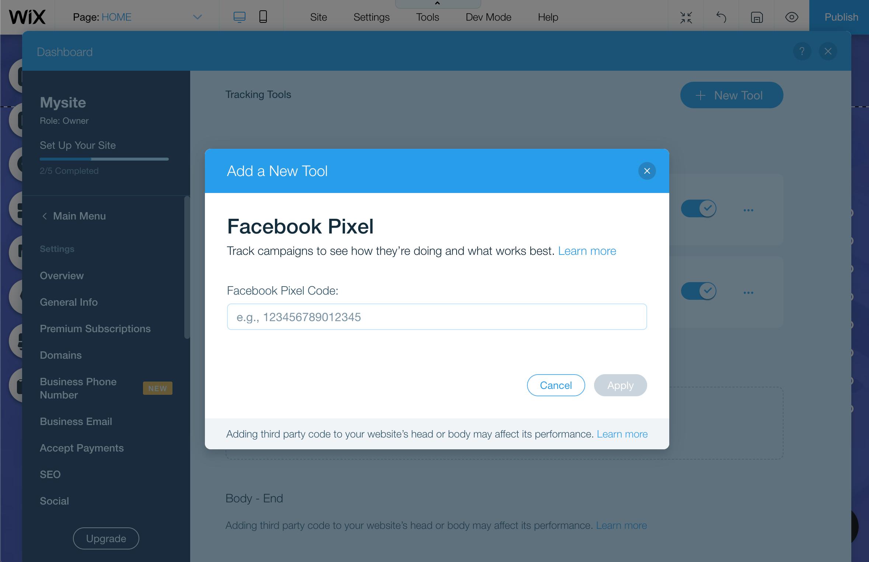 Facebook Pixel Wix