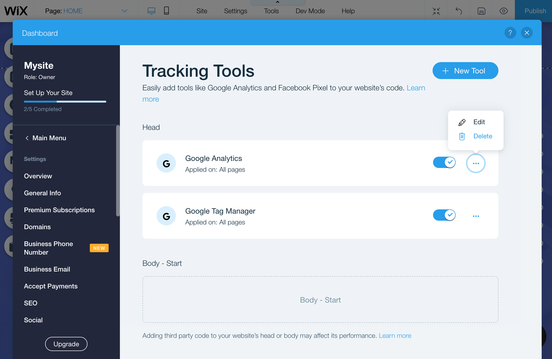 Remove Tracking Code Wix